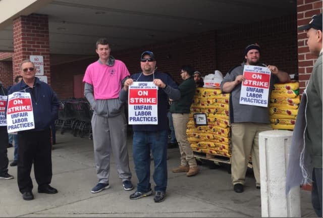 Thousands of Connecticut Stop & Shop workers on strike walked in picket lines of Friday, April 12, including these men at the Copps Hill Plaza location in Ridgefield.