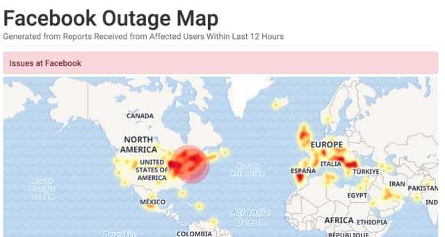 A look at the power outage map for Facebook just before 9 a.m. Sunday, April 14.