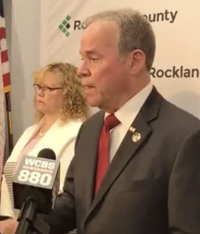 Rockland County Commissioner of Health Dr. Patricia Schnabel Ruppert and County Executive Ed Day discuss the measles outbreak.