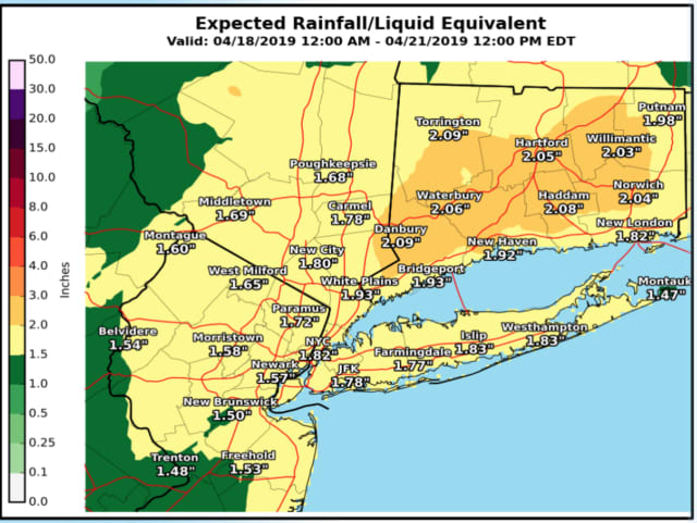 A look at expected rainfall from the storm system that will sweep through the area.