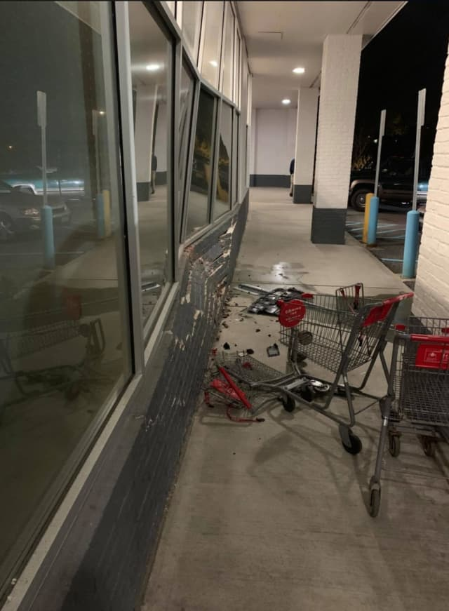 A look at the damage sustained after a car drove into the window at the CVS in Somers.