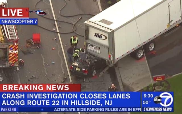 BMW, Tractor-Trailer Crash Shuts Rt  22 East In Hillside