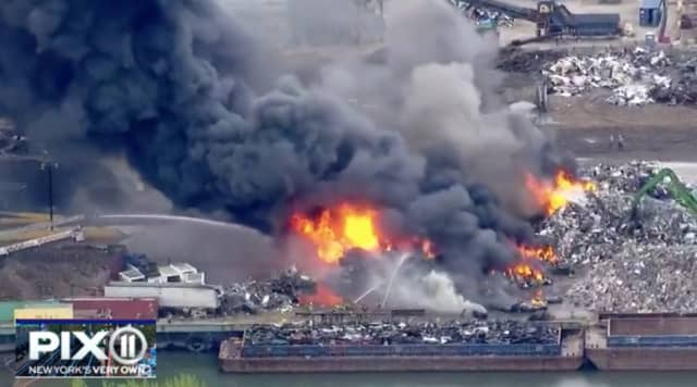 Pix11 News captured the scrap metal fire, which broke out Thursday afternoon in Jersey City.