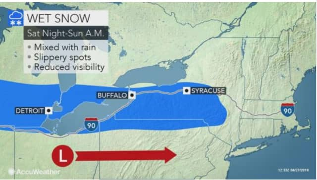 A look at the large portion of New York that is expected to see some snow overnight into Sunday, April 28.
