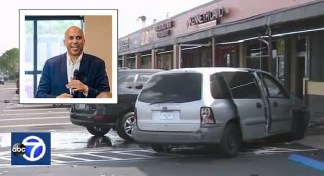 Cory Booker's speech came to a screeching halt when a minivan plowed through the Miami cafe window where he was speaking.