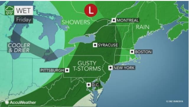 A look at the storm system that will sweep through the area on Friday, May 10.