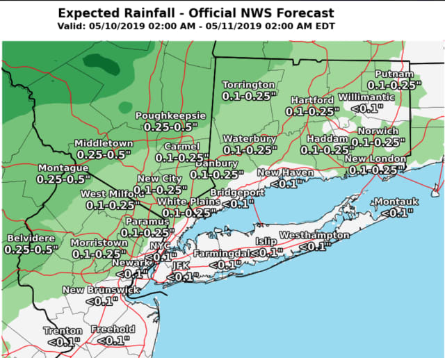 A look at projected rainfall amounts through Saturday, May 11.