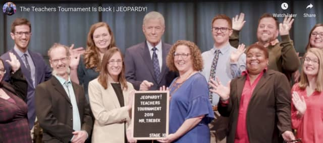 The 'teachers' taking part in the annual Jeopardy! 'Teachers Tournament.'