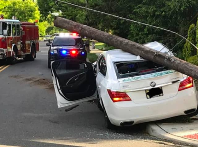 One person was taken to the hospital after a Buick sedan crashed into a Teaneck telephone pole.