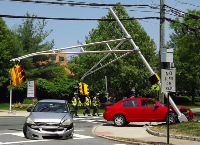 Ambulances traveling to and from The Valley Hospital's emergency room were re-routed until the stanchion at the intersection of North Van Dien and Linwood avenues was replaced.