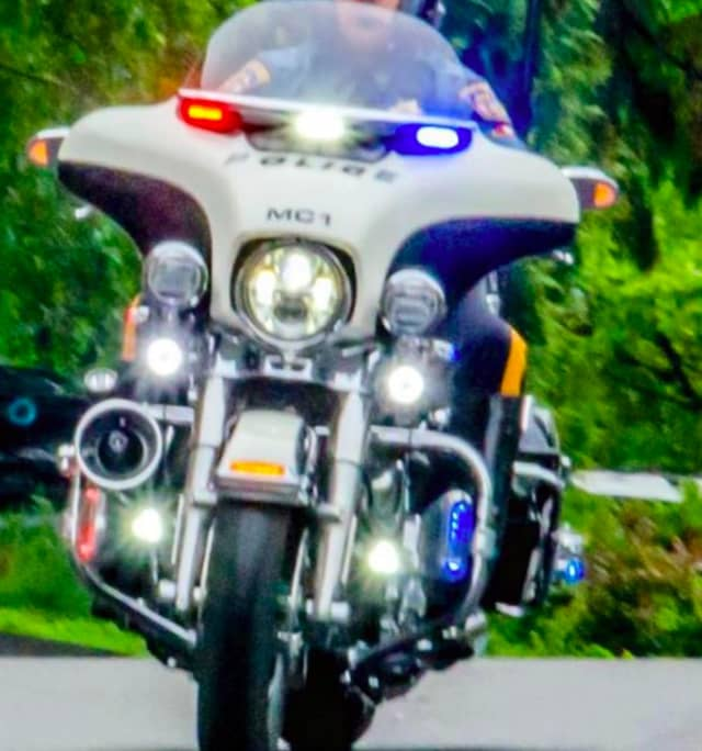 Mark Acker is a motorcycle officer with the South Nyack Police Department.