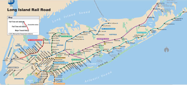 All Long Island Rail Road service to the Hamptons has been suspended after a Montauk train sideswiped a work train, derailing both, early Saturday morning, May 25.