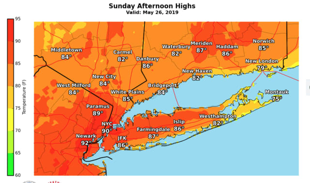 A look at projected high temperatures on Sunday, May 26.
