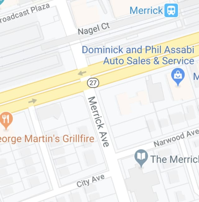 A woman was hit by a car on Merrick Avenue.