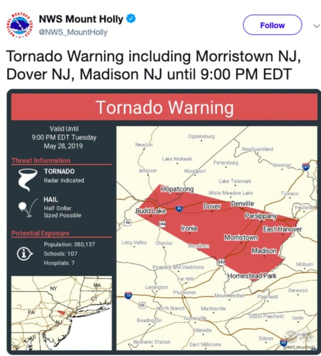 Tornado warning issued in Morris County.