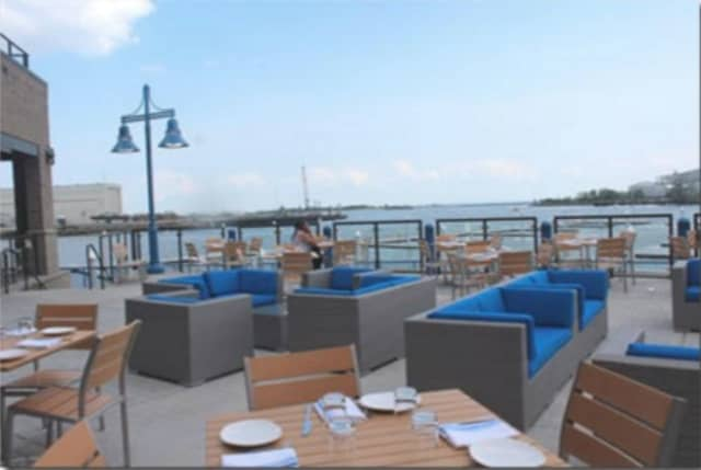 Waterfront patio at Boca Oyster Bar, newly opened at 10 E. Main Street in Bridgeport