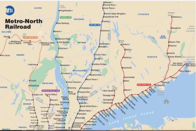 Metro-North's New Haven Line is shown in red.