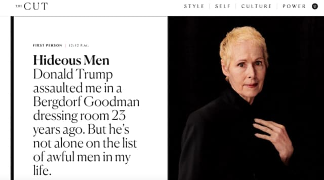 "A screen shot of E. Jean Carroll's first-person column in New York Magazine, titled ""Hideous Men.""  The magazine excerpt comes from her new book ""What Do We Need Men For? A Modest Proposal."""
