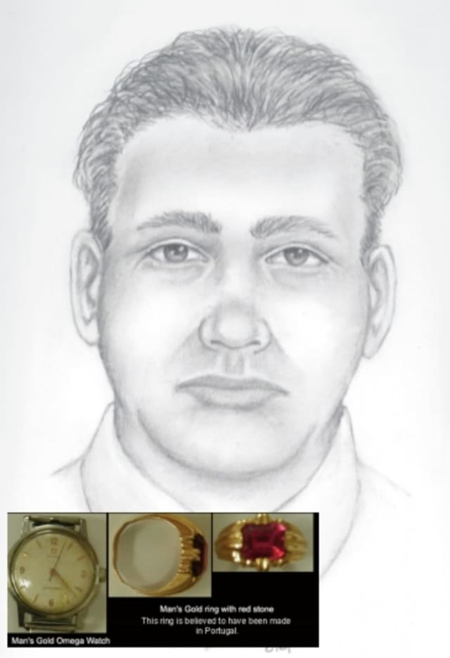Sketch of a male Ulster County homicide victim in an unsolved case from 1970. He had an imitation ruby ring with a gold setting and an Omega gold wristwatch, according to police.