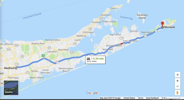 Police searched from Medford to Montauk after receiving a 911 call about a potentially suicidal woman with her two young daughters.
