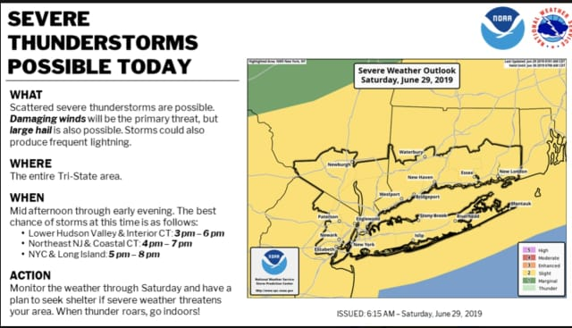 Severe thunderstorms will sweep through the area.