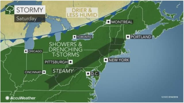 Stormy weather will overspread the Northeast on Saturday, July 6.