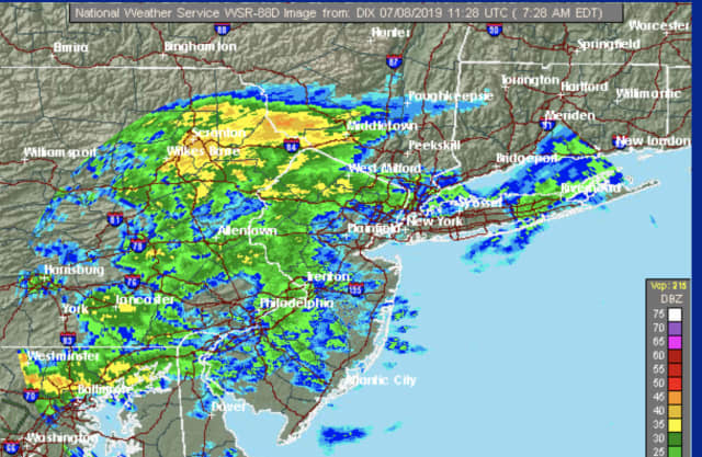A radar image of the region at 7:30 a.m. Monday, July 8 showing the rain and showers moving through.