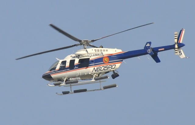 A Nassau County Police helicopter helped in the rescue of two jet skiers in Oceanside.