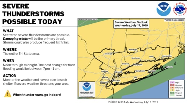 The first round of severe thunderstorms is expected on Wednesday, July 17.