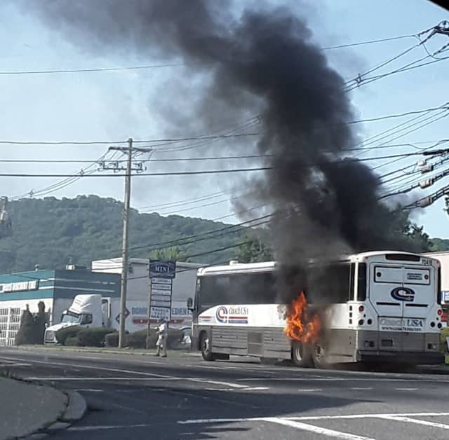 A stretch of Route 9W was closed after a coach bus fire broke out in Rockland County.