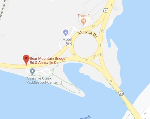 A two-vehicle crash closed a section of Bear Mountain Bridge Road.