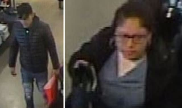 Police are on the lookout for a man and woman suspected of stealing $800 in men's shorts from Abercrombie and Fitch (1770 West Main Street, Suite 104) in Riverhead on Tuesday, March 5.
