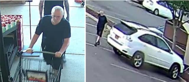 Police are on the lookout for a man suspected of stealing a woman's purse out of a shopping cart at Uncle Giuseppe's (890 Walt Whitman Road) on Wednesday, July 10 around 4:50 p.m. and fleeing in a white Lexus SUV.