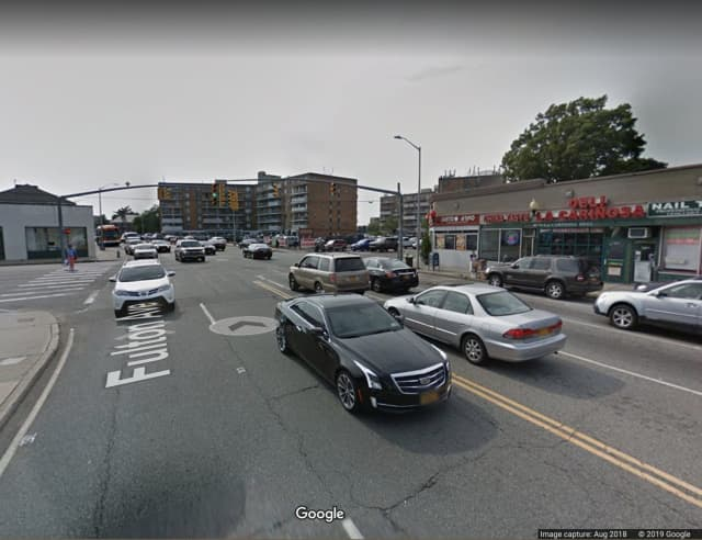 The intersection of Fulton Avenue and Clinton Street in Hempstead.
