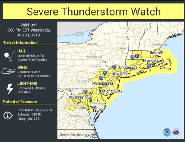 A Severe Thunderstorm Watch is in effect until 9 p.m. Wednesday, July 31.
