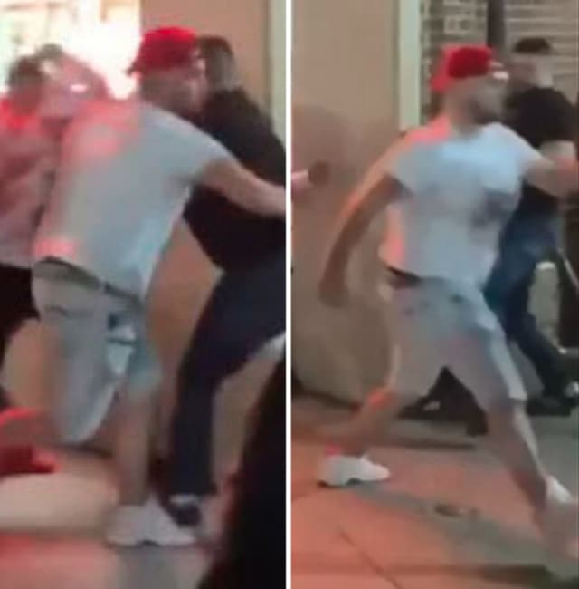 Police say a man wearing a red hat, a white tee-shirt, shorts and white sneakers stabbed two people in front of Indigo (32 West Main Street) on Tuesday, July 25 around 11:15 p.m.