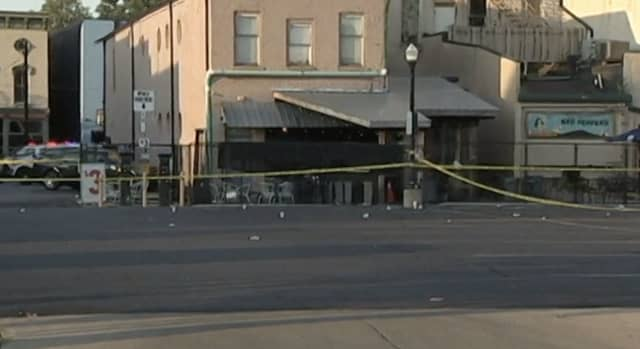 The area outside a bar in the historic Oregon District in Dayton, Ohio, where nine people were killed and 37 injured in the 250th mass shooting in the United States this year.