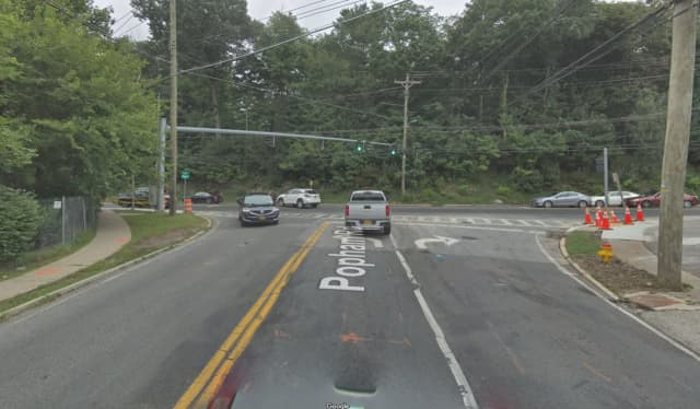 The intersection of Popham Road and Post Road in Scarsdale.