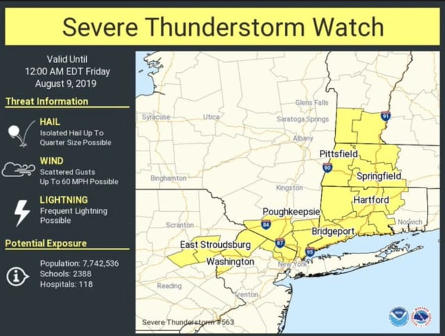 A Severe Thunderstorm Watch is in effect for the counties shown in yellow above.