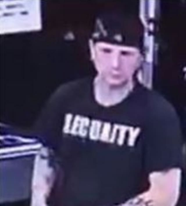 Police are on the lookout for a man suspected of taking an Oakley backpack containing personal items from a 2019 Land Rover parked outside of 7-Eleven (2011 Route 112) on Wednesday, July 24 around 12:35 a.m.