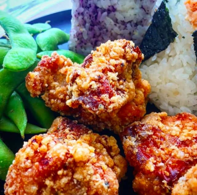 Chicken and rice balls from Omusubi Gonbei.