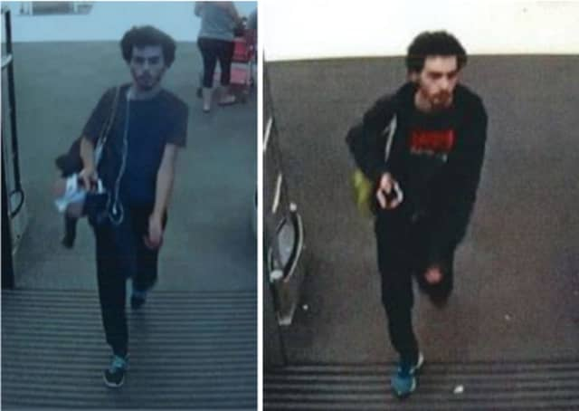 Police are on the lookout for a man suspected of stealing a Seagate portable hard drive from Target (307 Independence Plaza) on Monday, July 15 around 8 p.m.