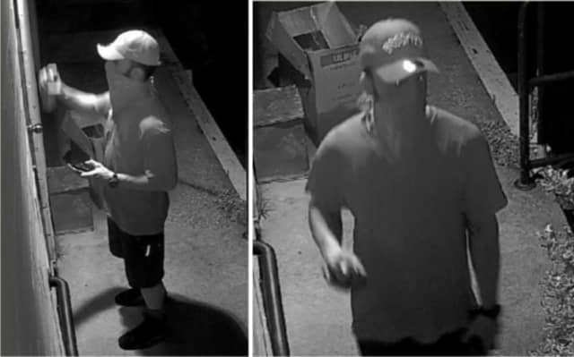 Police are on the lookout for a man suspected of spray painting graffiti on the rear door and loading dock at Sav-On Printing Inc. (598 Route 25A) the morning of Wednesday, June 26.