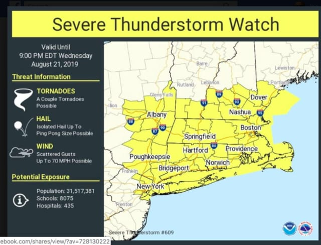 A Severe Thunderstorm Watch is now in effect until 9 p.m. for the entire area.