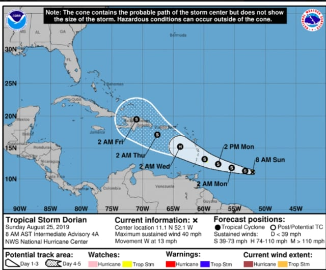 The latest models have Tropical Storm Dorian moving toward Cuba on Friday, Aug. 30 (see image above), but its path after that is unclear.