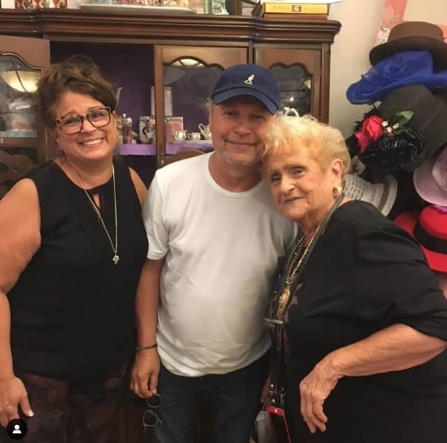 Owner Gina Aurisicchio, actor/comedian Billy Crystal and Anna Almond at Florrie Kayes Tea Room in Carmel Hamlet.