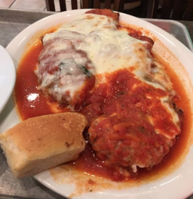 Chicken Parmigiano from Mamma Lombardi's, which now has five locations on Long Island.