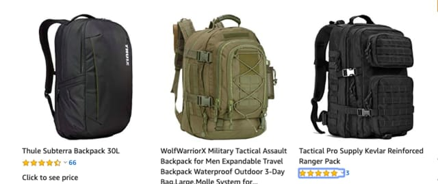 "Examples of ""bulletproof"" tactical backpacks selling online at Amazon and other outlets."