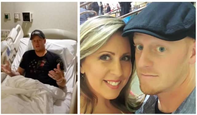 Chris Schmidt is recovering in Morristown Medical Center. He is picture here with his wife, Kari.