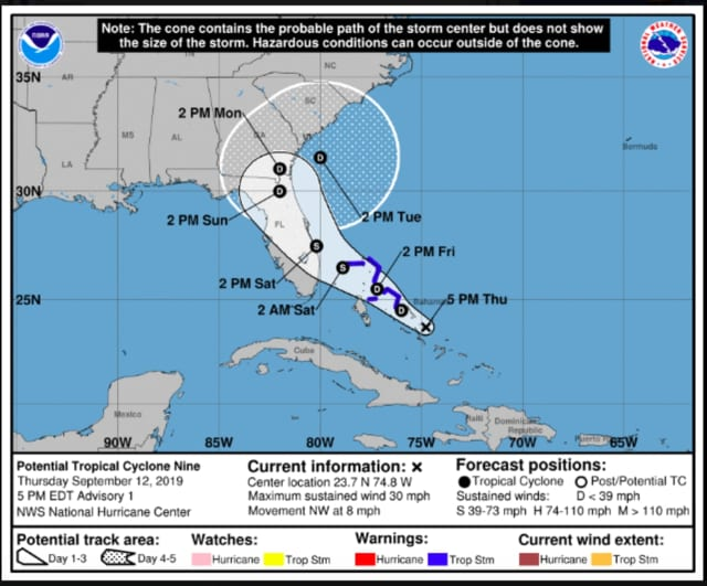 A look at the projected path of the system from the American model, released Thursday night, Sept. 12.